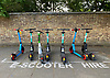 E-Scooters for hire in West Acton, London<br /> <br /> Stock Photo by Paddy Bergin