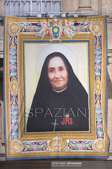 A tapestry with the image of Mexican Maria Guadalupe Garcia Zavala hangs in St.Peter's square at the Vatican on May 12, 2013,Pope Francis  the Canonization mass of Italian Antonio Primaldo and his companions, Colombian Laura Montoya Upegui and Mexican Maria Guadalupe Garcia Zavala in St.Peter's square at the Vatican  on May 12, 2013