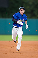 Clay Hunt (34) of Nation Ford High School in Fort Mill, South Carolina playing for the New York Mets scout team at the South Atlantic Border Battle at Doak Field on November 1, 2014.  (Brian Westerholt/Four Seam Images)