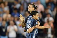 Kansas City, KS - Wednesday May 29, 2019.  Los Angeles Galaxy defeated Sporting Kansas City 2-0 in a Major League Soccer (MLS) game at Children's Mercy Park. Zlatan Ibrahimovic scores and celebrates.