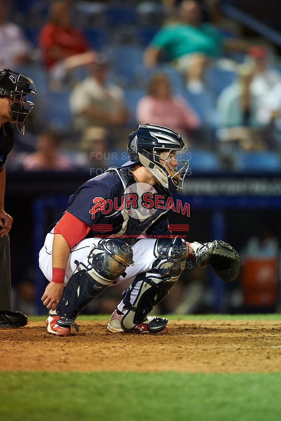 Reading Fightin Phils catcher Andrew Knapp (10) during a game against the New Britain Rock Cats on August 7, 2015 at FirstEnergy Stadium in Reading, Pennsylvania.  Reading defeated New Britain 4-3 in ten innings.  (Mike Janes/Four Seam Images)