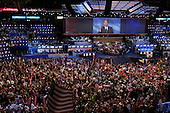 Boston Mass..USA.July 28, 2004..The Democratic National Convention in the Fleetcenter. Senator John Edwards, the VP democtratic candidate addresses the crowd.