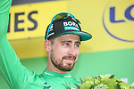 Peter Sagan (SVK) Bora-Hansgrohe retains the points Green Jersey at the end of Stage 16 of the 2019 Tour de France running 177km from Nimes to Nimes, France. 23rd July 2019.<br /> Picture: Colin Flockton   Cyclefile<br /> All photos usage must carry mandatory copyright credit (© Cyclefile   Colin Flockton)
