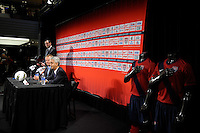 United States Soccer Federation President Sunil Gulati addresses the media at a press conference introducing new US Men's National Team Head Coach Jurgen Klinsmann during a press conference at Niketown in New York, NY, on August 01, 2011.