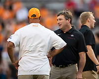KNOXVILLE, TN - OCTOBER 5: Georgia head coach Kirby Smart speaks to Tennessee head coach Jeremy Pruitt prior to the game during a game between University of Georgia Bulldogs and University of Tennessee Volunteers at Neyland Stadium on October 5, 2019 in Knoxville, Tennessee.