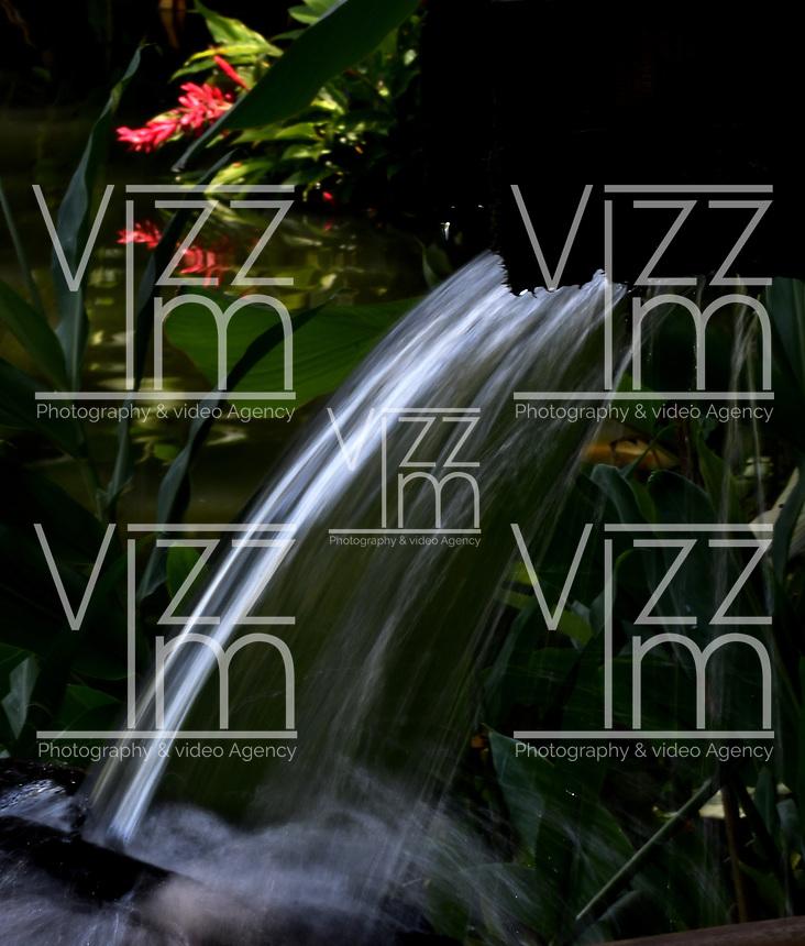 CALI - COLOMBIA - 20 - 06 - 2017: Cascada artificial en el Parque de las Garzas en la ciudad de Cali (Pance), Valle del Cauca, Colombia. / Artificial waterfall in the Park of the Herons in the city of Cali (Pance) in the Valle del Cauca, Colombia. / Photo: VizzorImage / Luis Ramirez / Staff. / Photo: VizzorImage / Luis Ramirez / Staff.