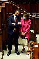 Italian Minister of Foreign Affairs Luigi di Maio and the minister of equal Opportunities Elena Bonetti during  the Premier speech at the Chamber of Deputies. Rome (Italy), July 22nd 2020<br /> Foto Samantha Zucchi Insidefoto