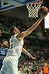 Real Madrid´s Felipe Reyes and Anadolu Efes´s Deniz Kilicli during 2014-15 Euroleague Basketball match between Real Madrid and Anadolu Efes at Palacio de los Deportes stadium in Madrid, Spain. December 18, 2014. (ALTERPHOTOS/Luis Fernandez)