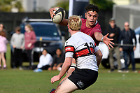 Che Clark of Kings College runs with the ball during the College 1st XV Rugby - Scots College v Kings College at Scots College, Wellington, New Zealand on Saturday 8 May 2021.<br /> Copyright photo: Masanori Udagawa /  www.photosport.nz