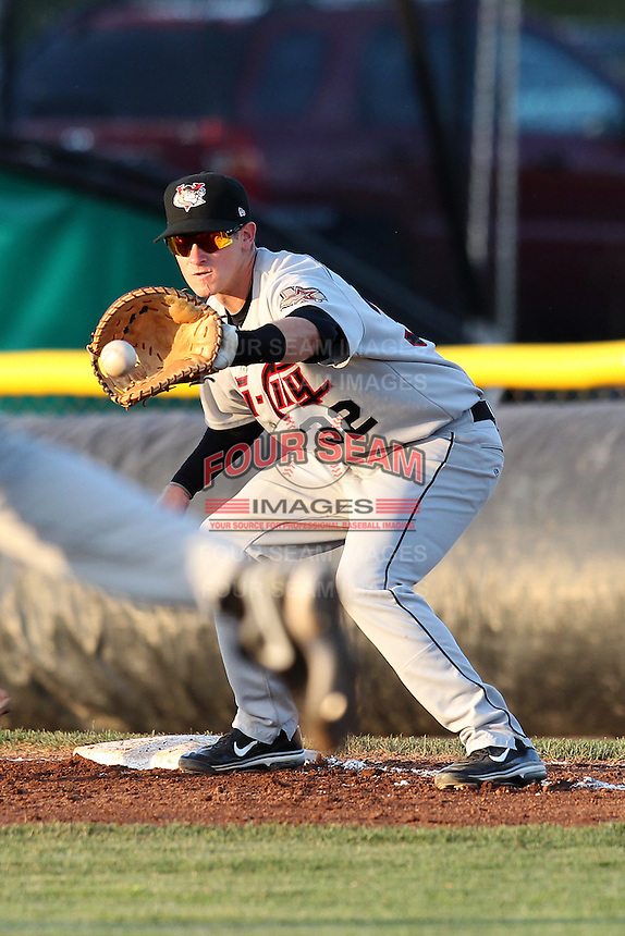 Tri-City ValleyCats first baseman Zach Johnson #32 during a game against the Batavia Muckdogs at Dwyer Stadium on July 14, 2011 in Batavia, New York.  Batavia defeated Tri-City 6-3.  (Mike Janes/Four Seam Images)