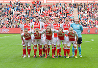 20150508 - LIEGE , BELGIUM : team standard Femina pictured with Maud Coutereels , Cecile De Gernier , Imke Courtois , Aline Zeler , Julie Biesmans , Renate Verhoeven , Sara Yuceil , Kim Mourmans , Tessa Wullaert , Sanne Schoenmakers and Julie Gregoire during the soccer match between the women teams of Standard de Liege Femina and PSV Eindhoven , on the 26th and last matchday of the BeNeleague competition Friday 8 th May 2015 in Stade Maurice Dufrasne in Liege . PHOTO DAVID CATRY