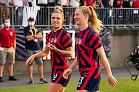 EAST HARTFORD, CT - JULY 5: Kristie Mewis #6 of the United States talks with Samantha Mewis #3 after a game between Mexico and USWNT at Rentschler Field on July 5, 2021 in East Hartford, Connecticut.