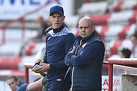 Stevenage FC Manager Alex Revell and Stevenage FC First Assistant Manager Keith Bell during Stevenage vs Exeter City, Sky Bet EFL League 2 Football at the Lamex Stadium on 9th October 2021