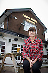 "© Joel Goodman - 07973 332324 . 14/03/2014 . White Horse Pub , Gilda Brook Road , Eccles M30 0DX , UK . Landlady BERNADETTE "" BABS "" HARVIEU (52 , correct) is unable to renew her contract with Robinsons brewery . Photo credit : Joel Goodman"