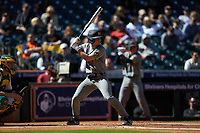 Mark Vierling (9) of the Missouri Tigers at bat against the Baylor Bears in game one of the 2020 Shriners Hospitals for Children College Classic at Minute Maid Park on February 28, 2020 in Houston, Texas. The Bears defeated the Tigers 4-2. (Brian Westerholt/Four Seam Images)