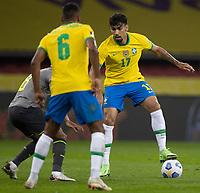4th June 2021; Beira-Rio Stadium, Porto Alegre, Brazil; Qatar 2022 qualifiers; Brazil versus Ecuador; Lucas Paquetá of Brazil is challenged by Carlos Gruezo of Ecuador