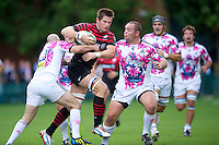 20120823 Copyright onEdition 2012©.Free for editorial use image, please credit: onEdition..Ernst Joubert of Saracens charges upfield at The Honourable Artillery Company, London in the pre-season friendly between Saracens and Stade Francais Paris...For press contacts contact: Sam Feasey at brandRapport on M: +44 (0)7717 757114 E: SFeasey@brand-rapport.com..If you require a higher resolution image or you have any other onEdition photographic enquiries, please contact onEdition on 0845 900 2 900 or email info@onEdition.com.This image is copyright the onEdition 2012©..This image has been supplied by onEdition and must be credited onEdition. The author is asserting his full Moral rights in relation to the publication of this image. Rights for onward transmission of any image or file is not granted or implied. Changing or deleting Copyright information is illegal as specified in the Copyright, Design and Patents Act 1988. If you are in any way unsure of your right to publish this image please contact onEdition on 0845 900 2 900 or email info@onEdition.com
