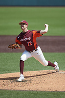 Virginia Tech Hokies starting pitcher Shane Connolly (12) in action against the Boston College Eagles at English Field on April 3, 2021 in Blacksburg, Virginia. (Brian Westerholt/Four Seam Images)