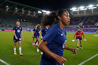 ORLANDO CITY, FL - FEBRUARY 18: Margaret Purce #20 of the United States runs out onto the field during a game between Canada and USWNT at Exploria Stadium on February 18, 2021 in Orlando City, Florida.