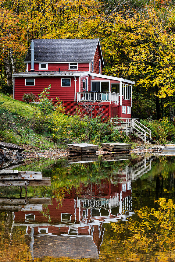 Rustic lakeside house on Lake Agawam , Stockbridge, Massachusetts, USA.