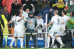 Real Madrid's Marcelo Vieira, Cristiano Ronaldo, Pepe and Garet Bale celebrate goal during Champions League 2015/2016 Quarter-finals 2nd leg match. April 12,2016. (ALTERPHOTOS/Acero)