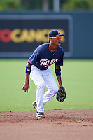 Minnesota Twins shortstop Jermaine Palacios (32) during an Instructional League game against the Boston Red Sox on September 24, 2016 at CenturyLink Sports Complex in Fort Myers, Florida.  (Mike Janes/Four Seam Images)