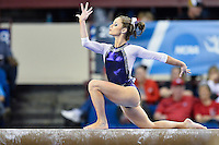 LSU's Jessie Jordan competes on the balance beam during the semifinals of the NCAA women's gymnastics championships, Friday, April 17, 2015 in Fort Worth, Tex.(Mo Khursheed/TFV Media via AP Images)
