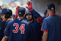 Nick Northcut (24) of the Salem Red Sox high fives his teammates after scoring a run during the game against the Kannapolis Cannon Ballers at Atrium Health Ballpark on July 30, 2021 in Kannapolis, North Carolina. (Brian Westerholt/Four Seam Images)