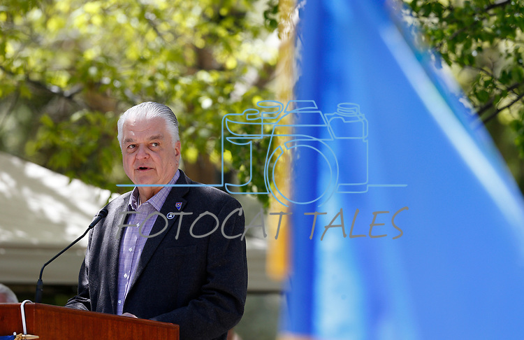 Nevada Gov. Steve Sisolak speaks at the 22nd annual Nevada Law Enforcement Officers Memorial ceremony in Carson City, Nev., on Thursday, May 2, 2019. <br /> Photo by Cathleen Allison/Nevada Momentum