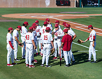 STANFORD, CA - JUNE 5: Team meeting before a game between UC Irvine and Stanford Baseball at Sunken Diamond on June 5, 2021 in Stanford, California.