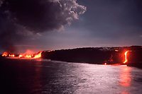 lava flowing into ocean at the East Highcastle entry during a full moon, Hawaii, USA Volcanoes National Park, Big Island of Hawaii, USA, Pacific Ocean