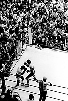 """Montreal (QC) CANADA, FILE PHOTO - June 20, 1980, Duran captures the WBC welterweight title by defeating Leonard via a 15-round unanimous decision during a fight known as  """"The Brawl in Montreal<br /> <br /> <br /> <br /> Roberto Duran Samaniego (born June 16, 1951,Up until the second Ray Leonard fight, he was trained by legendary boxing trainer Ray Arcel"""