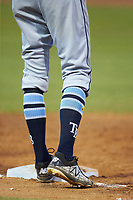 Jordan Qsar (8) of the Princeton Rays wears his socks high during the game against the Pulaski Yankees at Calfee Park on July 14, 2018 in Pulaski, Virginia. The Rays defeated the Yankees 13-1.  (Brian Westerholt/Four Seam Images)