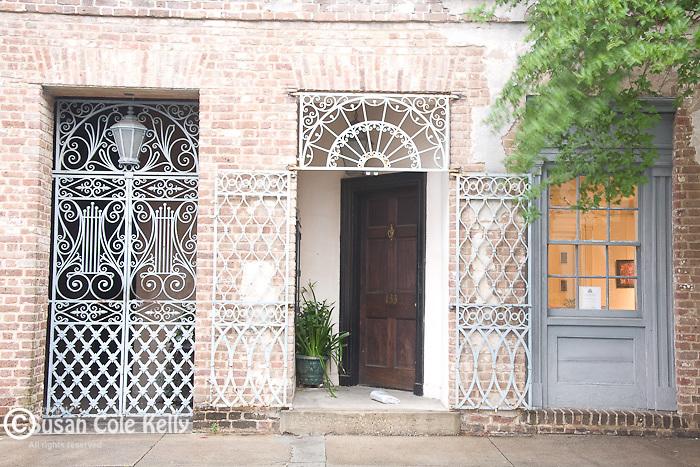 Elegant ironwork near the Dock Street Theatre (135 Church St) in downtown Charleston, SC, a National Historic Landmark district.