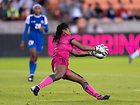 HOUSTON, TX - JANUARY 28: Kerly Theus #12 of Haiti makes a save during a game between Haiti and USWNT at BBVA Stadium on January 28, 2020 in Houston, Texas.