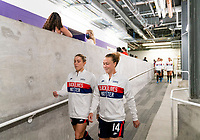 ORLANDO, FL - FEBRUARY 21: Abby Dahlkemper #7 and Emily Sonnett #14 of the USWNT leave the locker room before a game between Brazil and USWNT at Exploria Stadium on February 21, 2021 in Orlando, Florida.