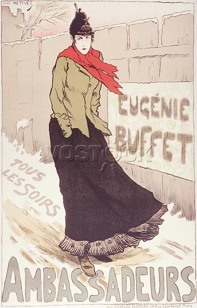 Eugenie Buffet at Les Ambassadeurs in 1896, by artist Lucien Metivet