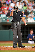 Umpire Ryan Additon makes a call during a game between the Jackson Generals and Montgomery Biscuits on April 29, 2015 at Riverwalk Stadium in Montgomery, Alabama.  Jackson defeated Montgomery 4-3.  (Mike Janes/Four Seam Images)
