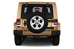 Straight rear view of 2017 JEEP wrangler Sahara 5 Door SUV Rear View  stock images