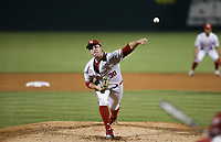 Nebraska Emmett Olson (38) pitches, Saturday, June 5, 2021 during the fifth inning in the second game of the NCAA Fayetteville Regional at Baum-Walker Stadium in Fayetteville. Check out nwaonline.com/210606Daily/ for today's photo gallery. <br /> (NWA Democrat-Gazette/Charlie Kaijo)