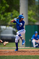 Dunedin Blue Jays Kevin Vicuna (3) at bat during a Florida State League game against the Jupiter Hammerheads on May 16, 2019 at Jack Russell Memorial Stadium in Clearwater, Florida.  Dunedin defeated Jupiter 1-0.  (Mike Janes/Four Seam Images)