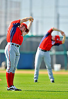 24 February 2012: Washington Nationals' pitcher Stephen Strasburg takes warm up stretching exercises at the Carl Barger Baseball Complex in Viera, Florida. Mandatory Credit: Ed Wolfstein Photo