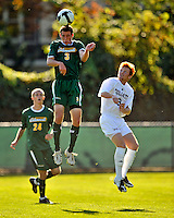 22 September 2008: University of Vermont Catamounts' midfielder/backfielder Connor O'Brien, a Sophomore from Richmond, VT, jumps high to head the ball during game action against the Colgate University Raiders at Centennial Field, in Burlington, Vermont. The Raiders edged out the Catamounts 2-1, handing the Soccer Catamounts their first home loss of the 2008 season. ..Mandatory Photo Credit: Ed Wolfstein Photo