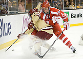 Danny Linell (BC - 10), Patrick MacGregor (BU - 4) - The Boston College Eagles defeated the Boston University Terriers 3-2 (OT) to win the 2012 Beanpot championship on Monday, February 13, 2012, at TD Garden in Boston, Massachusetts.