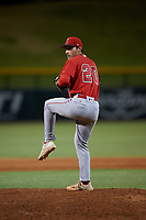 AZL Angels relief pitcher Matthew Woods (20) during an Arizona League game against the AZL Cubs 1 on June 24, 2019 at Sloan Park in Mesa, Arizona. AZL Cubs 1 defeated the AZL Angels 12-0. (Zachary Lucy / Four Seam Images)