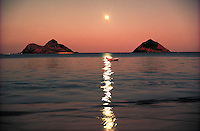 Lanikai w/ Moku Lua Islands and full moon, Oahu