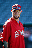 Josh Hamilton #32 of the Los Angeles Angels before a game against the Kansas City Royals at Angel Stadium on May 14, 2013 in Anaheim, California. (Larry Goren/Four Seam Images)