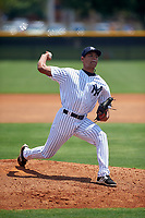 GCL Yankees West pitcher Alex Mejias (28) delivers a pitch on the side field during the second game of a doubleheader against the GCL Yankees East on July 19, 2017 at the Yankees Minor League Complex in Tampa, Florida.  GCL Yankees West defeated the GCL Yankees East 3-1.  (Mike Janes/Four Seam Images)