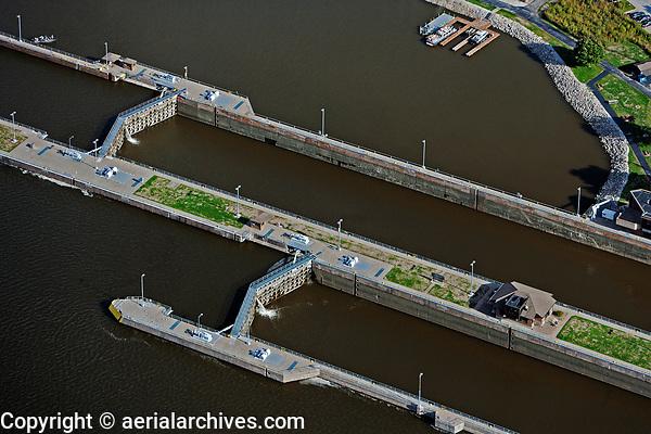 aerial photograph Lock and Dam No. 15, Mississippi River, Davenport, Iowa, Rock Island, Illinois