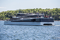 Sightseeing vessel, Vision of The Fjords, in Oslo harbour. During sightseeing the vessel will be powered by batteries only, while in transit it can use diesel engines to increase the range. The batteries can be charged ether by on-shore power or by the engines on board.<br />